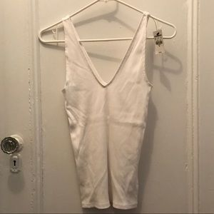Express Ribbed V-Neck Tank in White